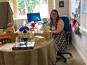 Abbie with raffle prizes